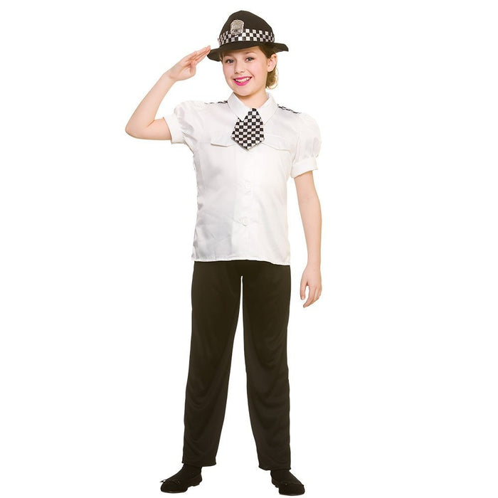 Police Women Childrens Fancy Dress Costume Shirt, Tie, Trousers & Hat-Large 8-10 Years