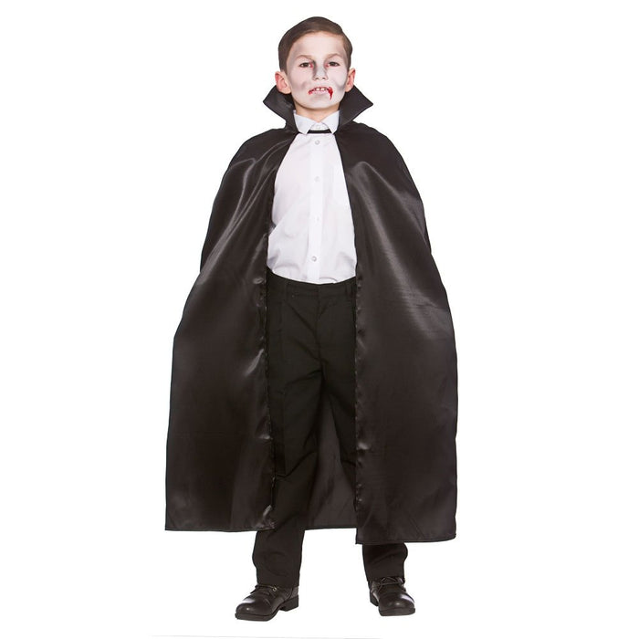 Kids Deluxe Black Satin Cape with Collar Halloween Fancy Dress Accessory 95cm