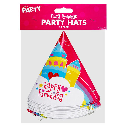 Pack Of 10 Children's Girls Fairy Princess Birthday Party Hats
