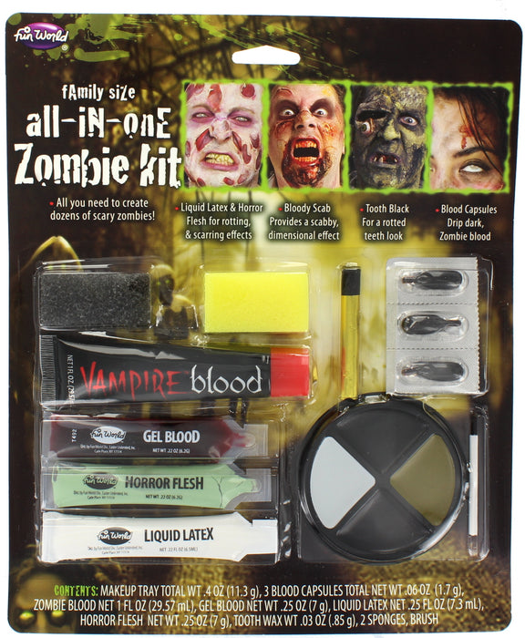 Family Size All-in-One Zombie Kit With Latex, Blood, Tooth Black & Blood Capsule