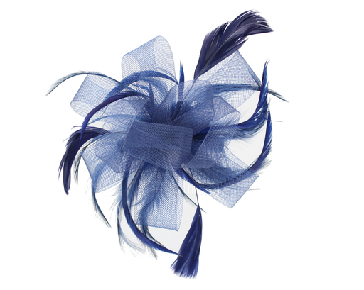 Navy Fascinator on Headband/ Clip-in for Weddings, Races and Occasions-5013