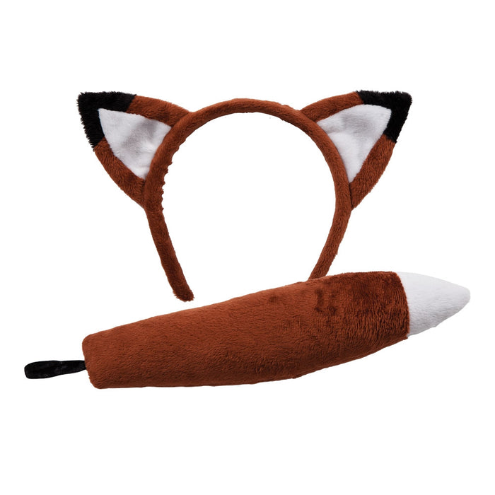 Fox Ears Headband Tail Farm Animal Ears Fancy Dress Costume Accessory Set