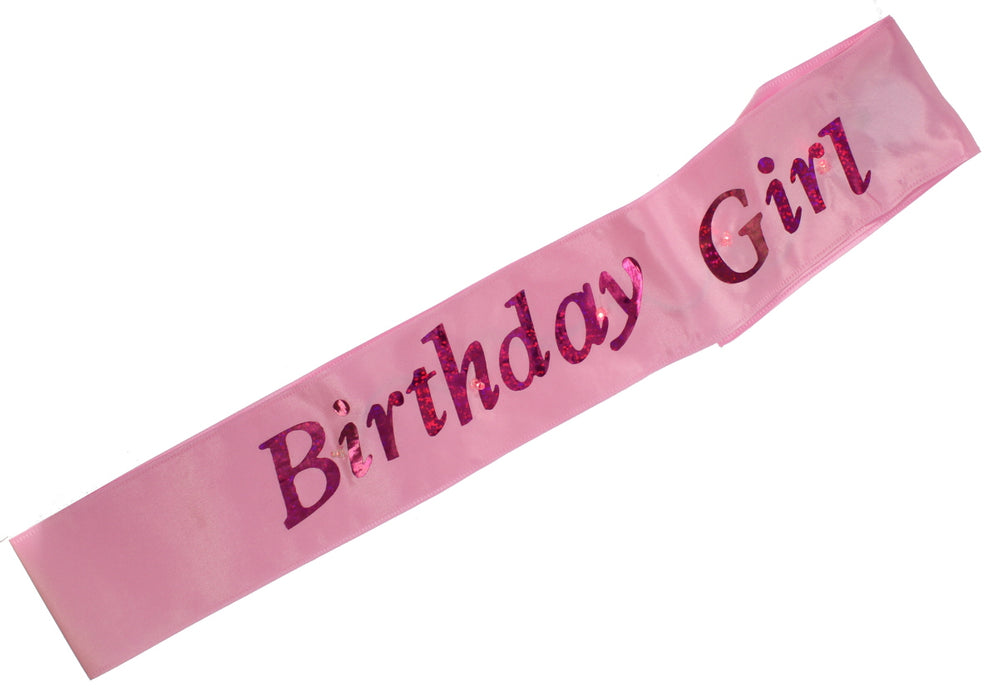 Flashing Childrens Birthday Girl Pink Sash Night Out Accessory