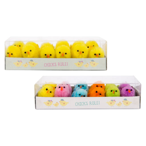 Little Fluffy Pack of 12 Easter Chicks Arts & Craft Easter Bonnet Decoration