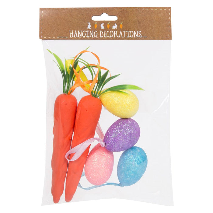 Easter Hanging Decorations Carrots & Glitter Eggs Home Party Supplies