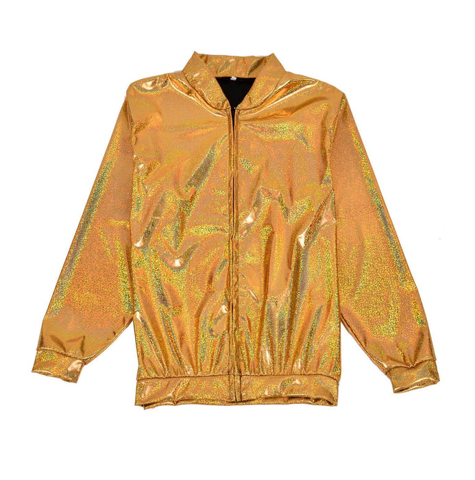 Gold Holographic Foil Jacket Metallic Bomber Coat Festival Fancy Dress Accessory-Large