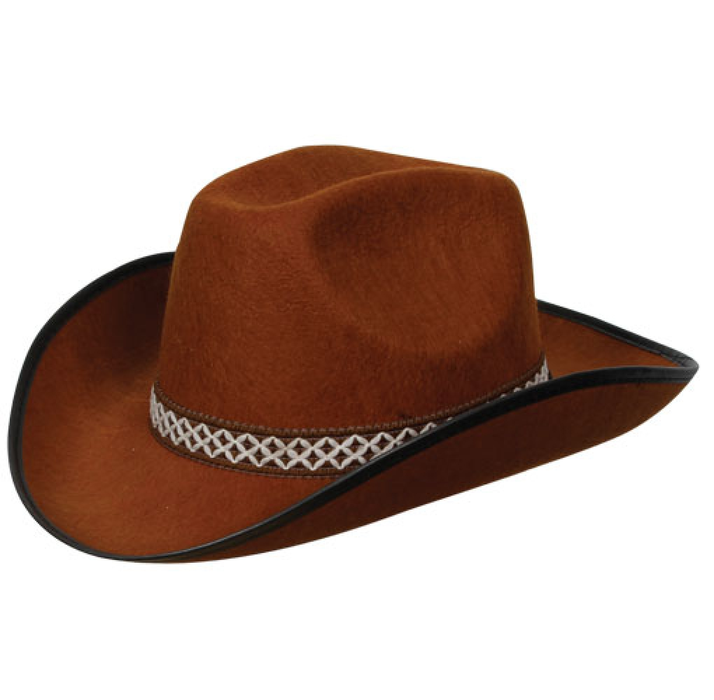 Adults Brown Cowboy/Cowgirl Rodeo Hat With Decorative Band Fancy Dress Accessory