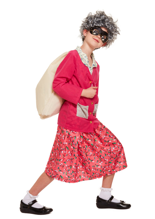 Bad Burglar Grandma Childrens Fancy Dress Costume Skirt Shirt Cardigan & Glasses