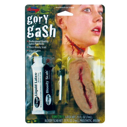 "Halloween 4"" Gory Gash Kit With, Latex Prosthetic, Bloody Scab and Liquid Latex"