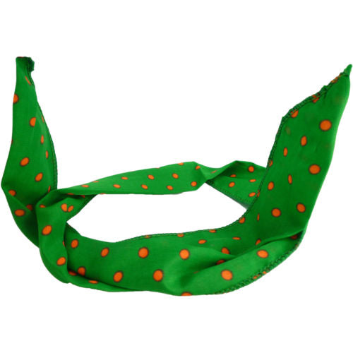 Fluorescent Spotty Fabric Wired Head Wrap Bandeaux -Green With Orange Spots