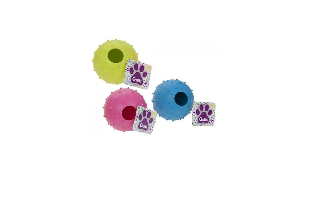 Crufts Colourful Large Rubber Dog/ Puppy Play & Treat Ball 9cm