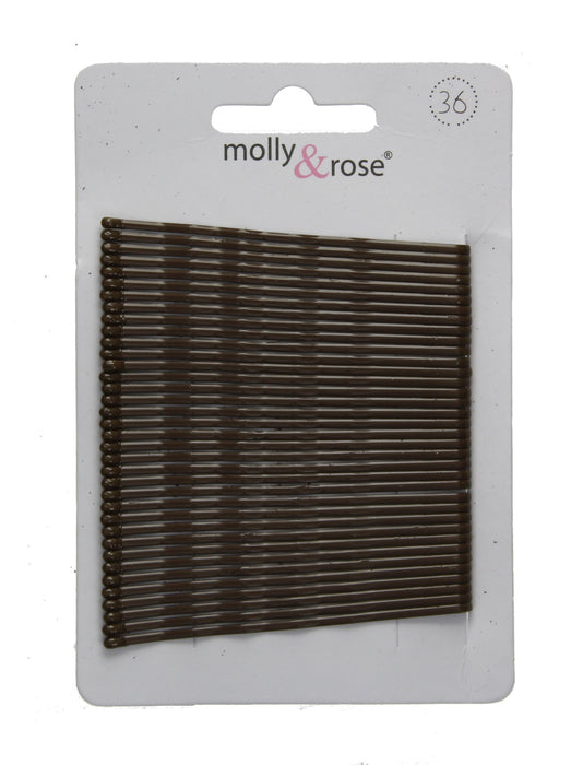 Card of 36 Hair Kirby Grips Bobby Pins 65mm-Brown