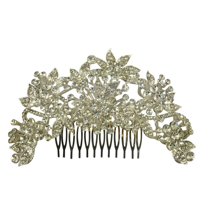 Prom Styled Diamante Encrusted Tiara With Slide Comb Pin