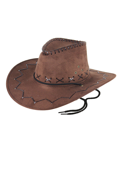 Adults Unisex Brown Suede Cowboy Hat Fancy Dress Accessory
