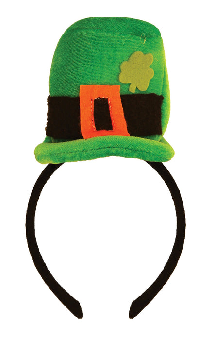 St Patricks Day Green Leprechaun Top Hat on Headband Adult Fancy Dress Accessory