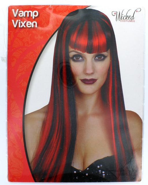 Halloween Vamp Vixen Red & Black Vampire Wig With Fringe Fancy Dress Accessory
