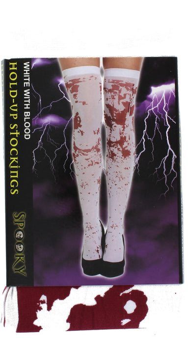 Halloween White With Blood Stockings Fancy Dress Accessory