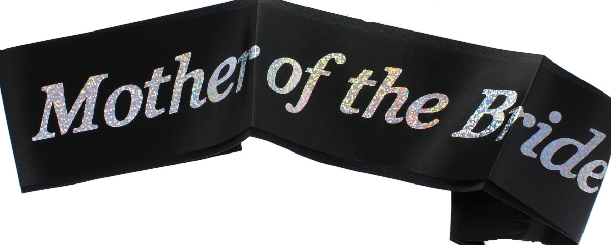 Hen Night �Mother Of The Bride� Black Sash Silver Writing Hen Party Accessory