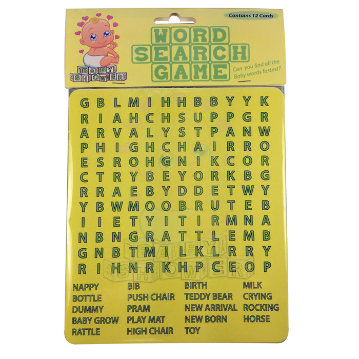 Baby Shower Pack of 12 Word Search Game For 12 Players Unisex Boy Girl Gift
