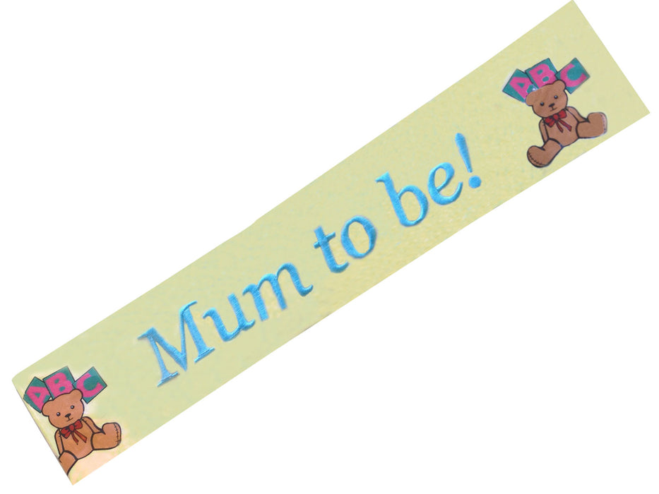 Baby Shower 'Mum To Be' Yellow Ribbon Sash
