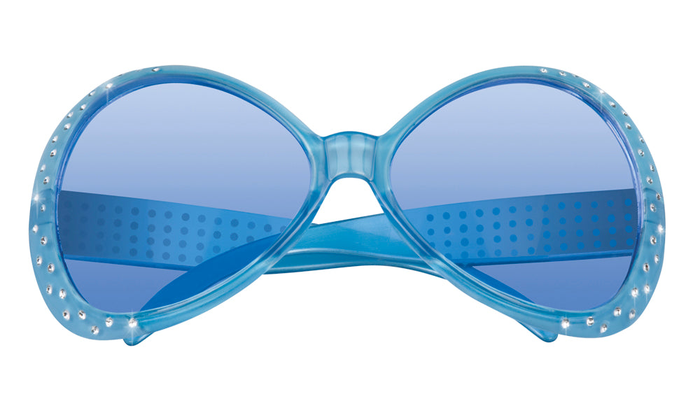 Bright Coloured with Diamante 60's Sunglasses Fancy Dress Accessory-Blue