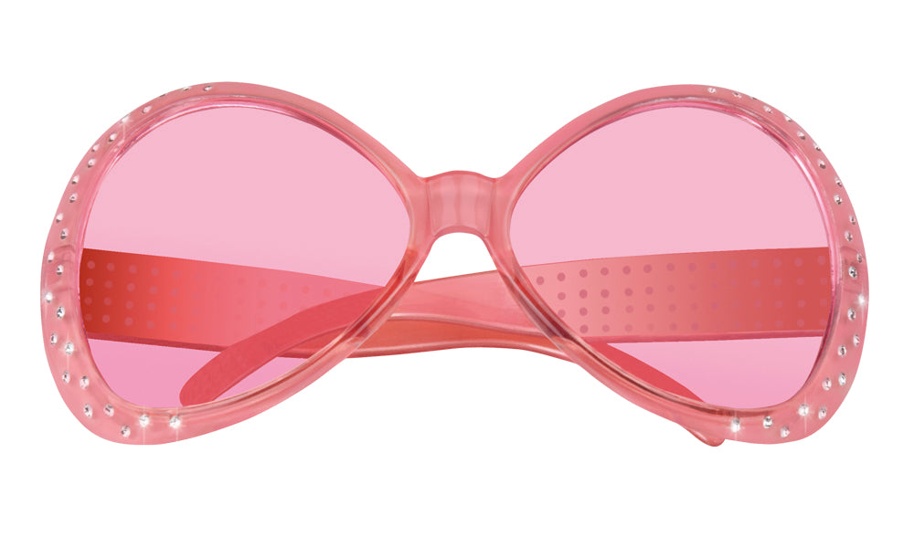 Bright Coloured with Diamante 60's Sunglasses Fancy Dress Accessory-Pink