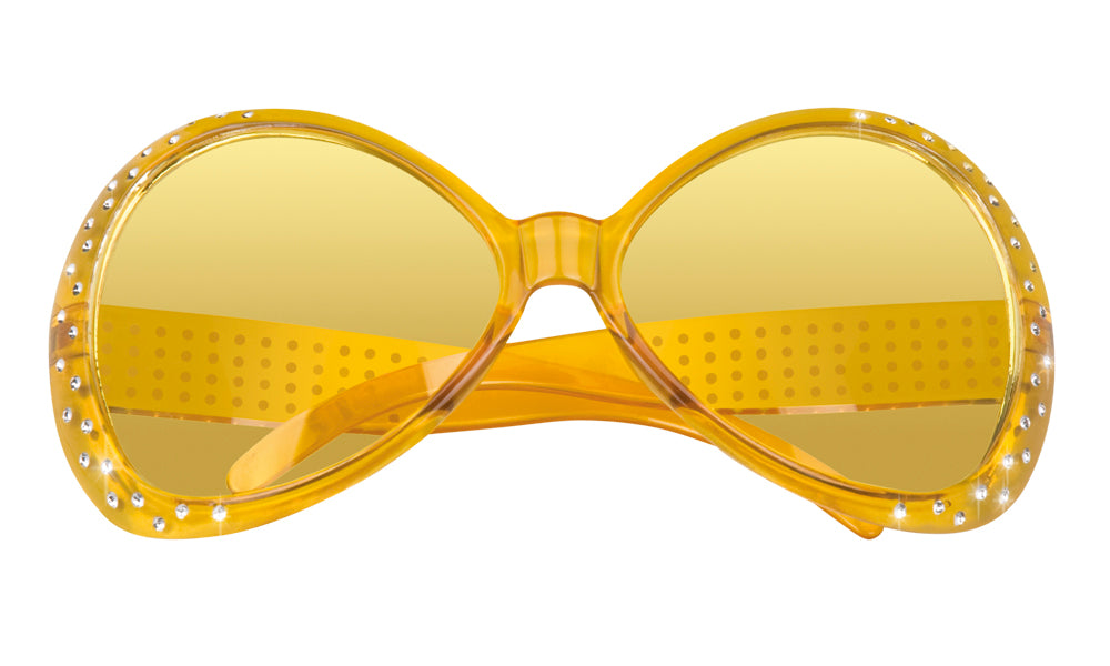 Bright Coloured with Diamante 60's Sunglasses Fancy Dress Accessory-Yellow