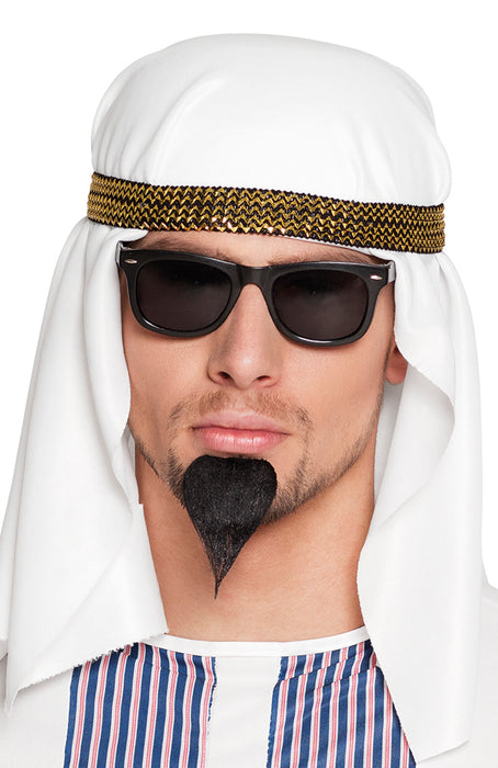 Black Sheikh Stick on Goatee Moustache Fancy Dress Accessory