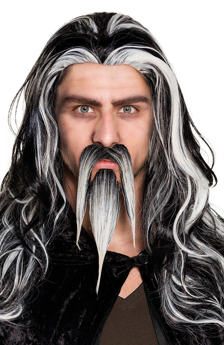 Black & White Wizard Stick on Moustache & Goatee Fancy Dress Accessory