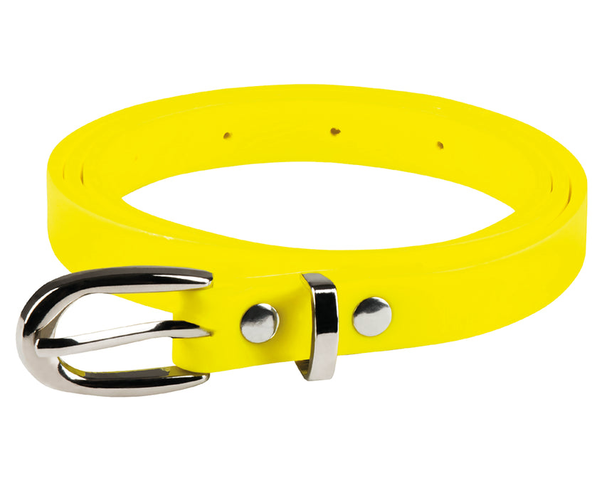 Ladies Bright Coloured 80's Neon Skinny Belt Fancy Dress Accessory-Neon Yellow