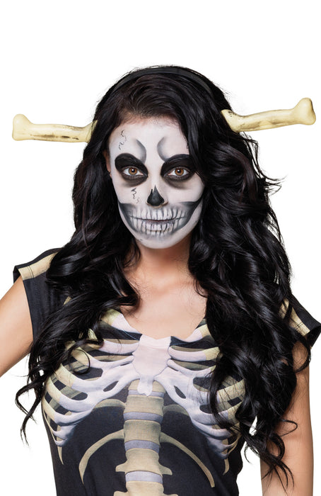Adults Halloween Skeleton Bones on Headband Fancy Dress Accessory