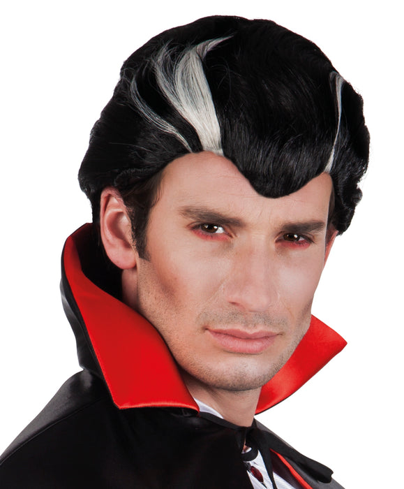 Halloween Black With Silver Streaks Male Vampire Wig Fancy Dress Accessory