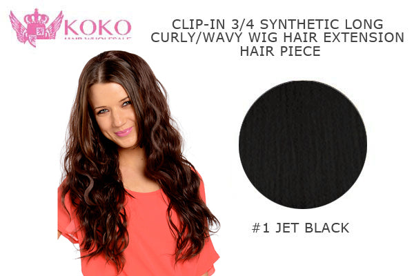 26�� Clip-In 3/4 Synthetic Long Curly/Wavy Hair Extension Piece-#1 JET Black