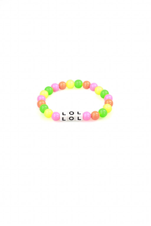 Pink, Orange, Yellow & Green Beaded LOL Bracelet