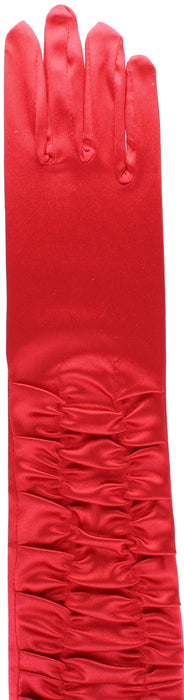 Long Red Ruffled Satin Fancy Dress Gloves