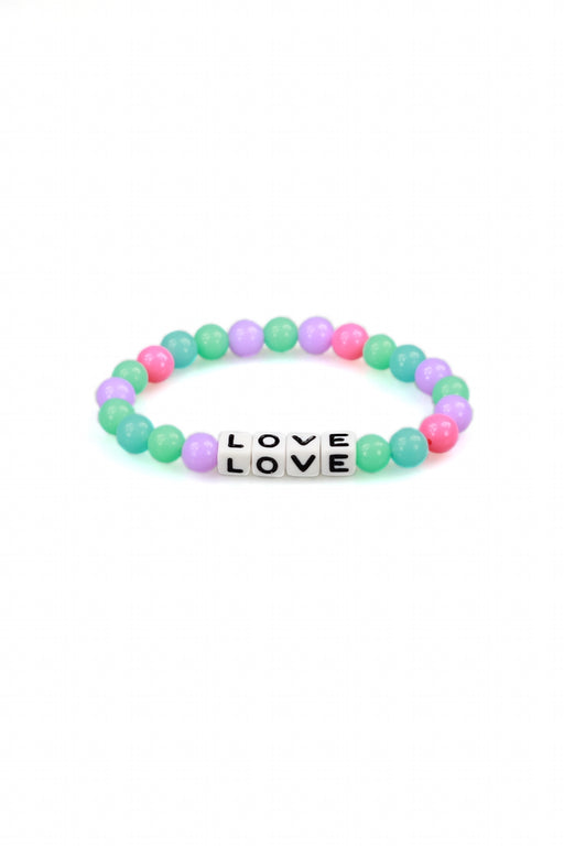 Pink, Green, Blue & Purple Beaded Love Bracelet