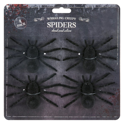 Large Pack of 4 Creepy Plain Spiders Halloween Decoration