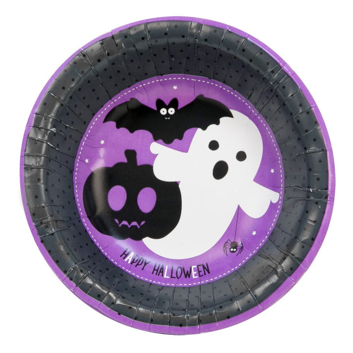 Halloween Pack of 16 Disposable Paper Bowls Spooky Party Tableware Supplies-Purple