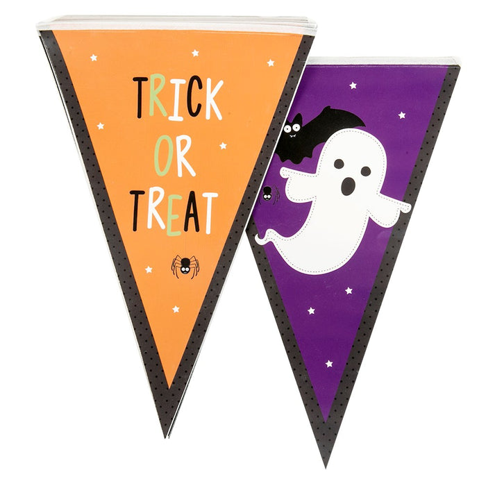 12 Flags Pennant Bunting Party Banner Halloween Decoration Accessory/ Supplies-Orange + Purple