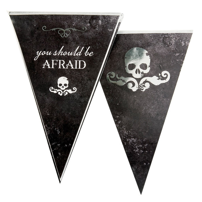12 Flags Pennant Bunting Party Banner Halloween Decoration Accessory/ Supplies-Black