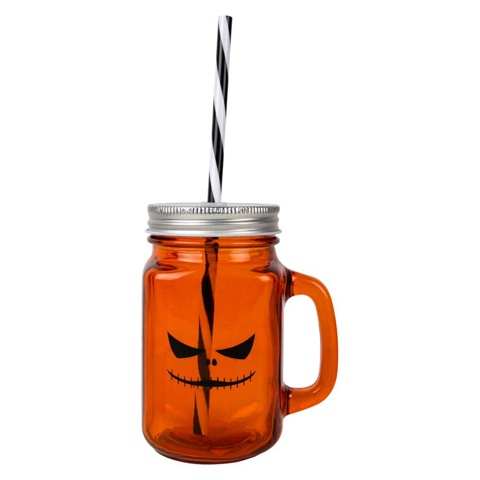 Halloween Themed Screw Top Glass Drinking Jar with Straw-Orange