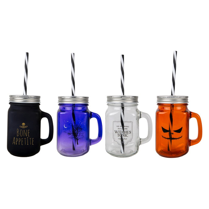 Halloween Themed Screw Top Glass Drinking Jar with Straw