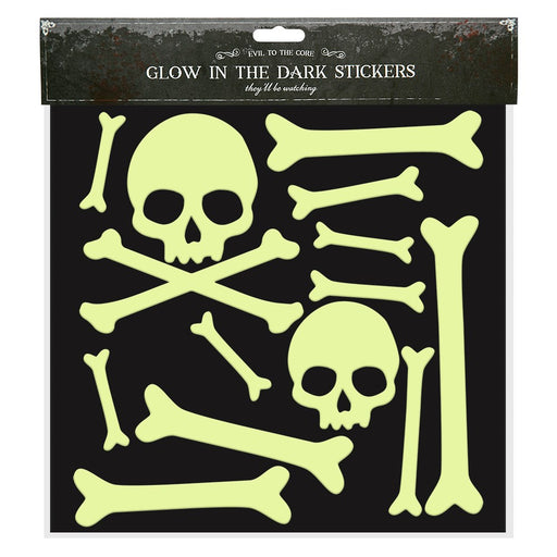 Halloween Glow in the Dark Window Stickers Decoration-Skull & Bones