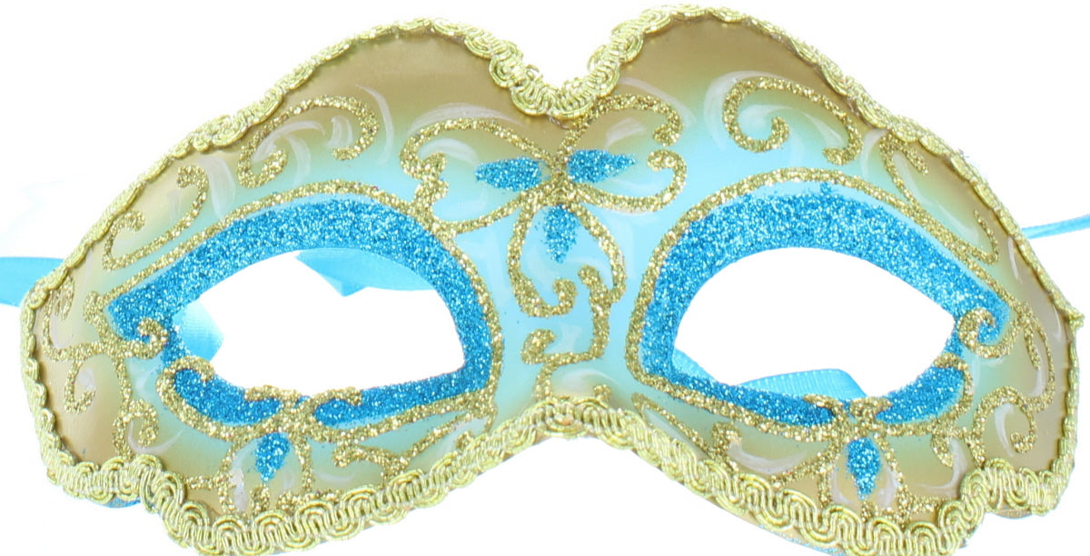 Masquerade Ball Adults Metallic Glitter Eye Mask Halloween Fancy Dress Accessory-Blue & Gold