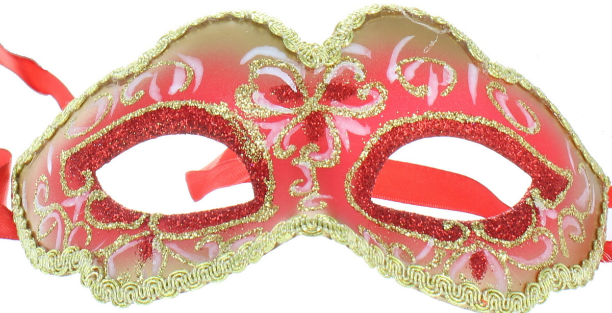 Masquerade Ball Adults Metallic Glitter Eye Mask Halloween Fancy Dress Accessory-Red & Gold