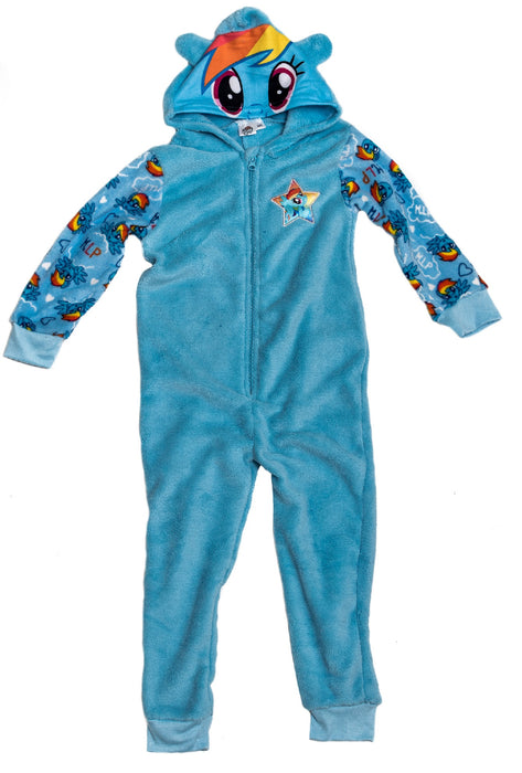 My Little Pony Blue Rainbow Dash All In One Sleepsuit Loungewear With Zip & Hood - 2/3 Years