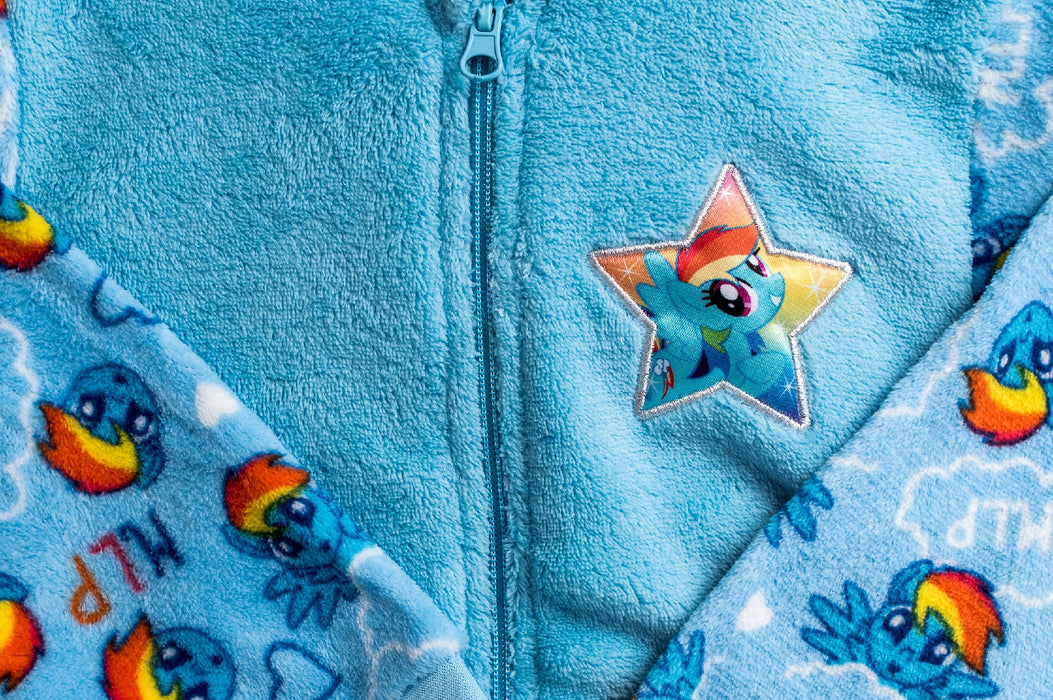My Little Pony Blue Rainbow Dash All In One Sleepsuit Loungewear With Zip & Hood