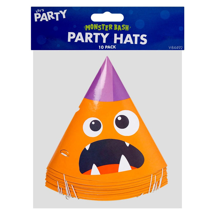 Pack Of 10 Halloween Children's Monster Birthday Party Hat
