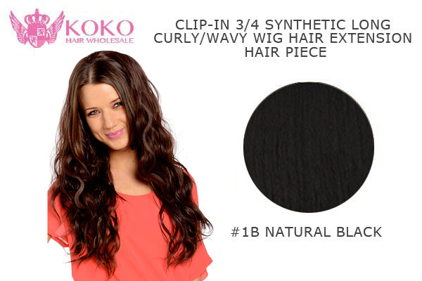 "26""  Clip-In 3/4 Synthetic Long Curly Wavy Hair Extension  Half Head Piece-#1B Natural Black"