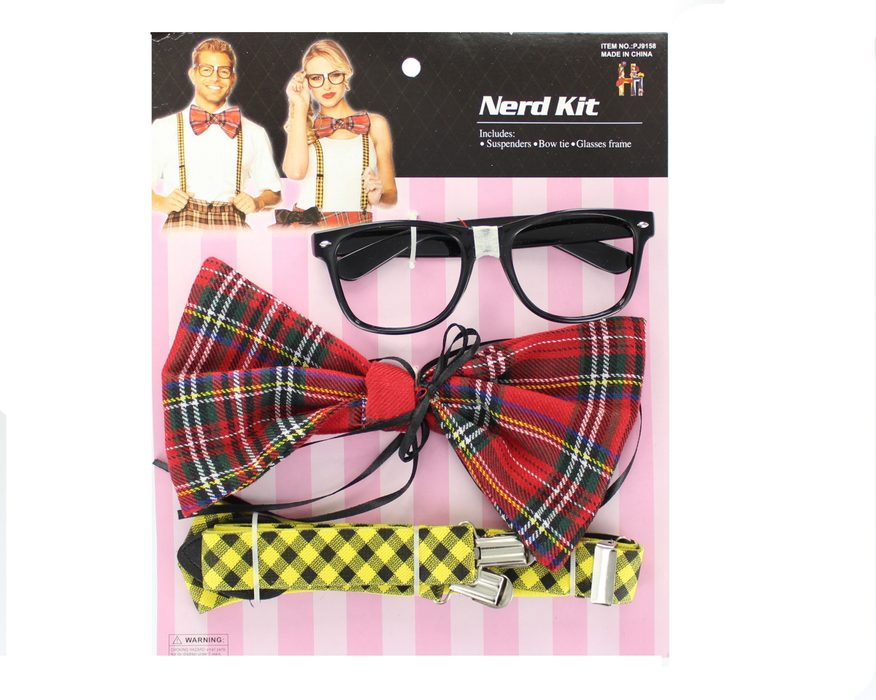 Adults Geek/ Nerd Accessory Kit with Suspenders, Bow Tie & Glasses Frame